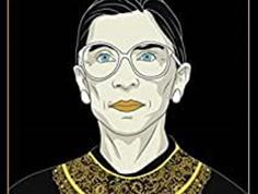 "Movie poster featuring illustration of Ruth Bader Ginsburg against a black background with gold text ""RBG Hero. Icon. Dissenter"""