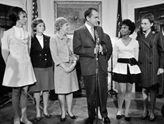 President Nixon meets with POW wives Carole Hansen, Louise Mulligan, Sybil Stockdale, Andrea Rander, and Mary Mearns in December 1969