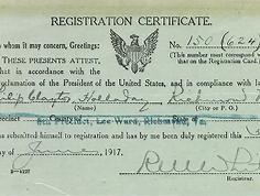 WWI Registration card