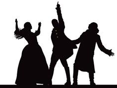 HamiltunesRVA logo - black and white figures of a woman and two men sing with arms outstretched