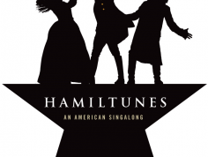 HamiltunesRVA logo - black and white figures of a woman and two men sing atop a star