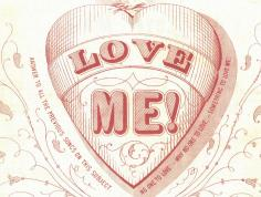 "Sheet music cover image shows a large heart with the words ""Love Me!"" inside"