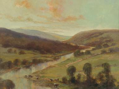 Detail of landscape painting with hills and a stream