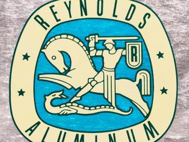 Reynolds Aluminum sign - image depicts horse with knight slaying a dragon