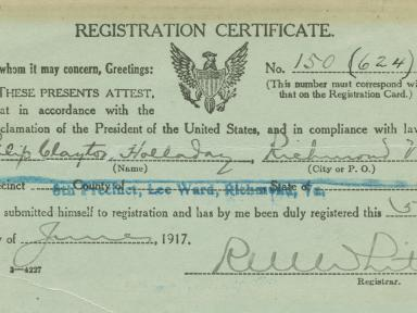 Registration card from WWI