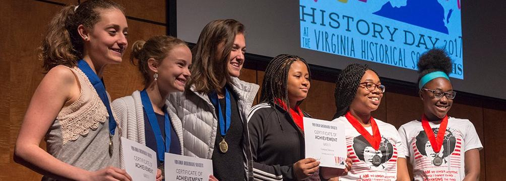 award winners at the 2017 Virginia History Day competition