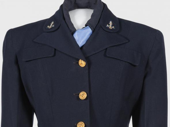 US Navy WAVE uniform. Navy blue jacket with gold buttons and anchor emblem on collar