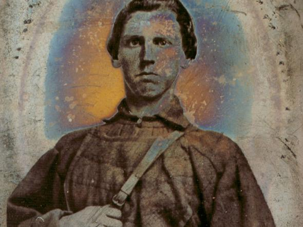 Tintype portrait of Robert Thaxton (d.1863), in uniform. Thaxton was a Confederate soldier killed at the battle of Chancellorsville, Virginia.