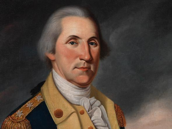 Oil painting of George Washington in uniform