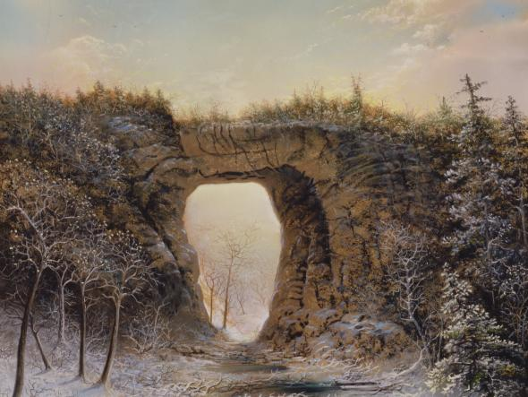 pastel drawing of Natural Bridge in snow