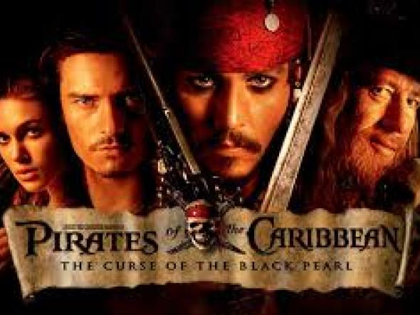 Movie poster for Pirates of the Caribbean: 3 men and a woman look serious
