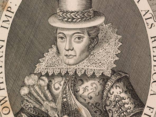 An engraving of Pocahontas in English garb