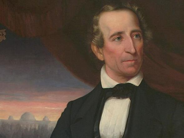 A painting of a John Tyler in a suit, seated in a red chair with a drape behind him