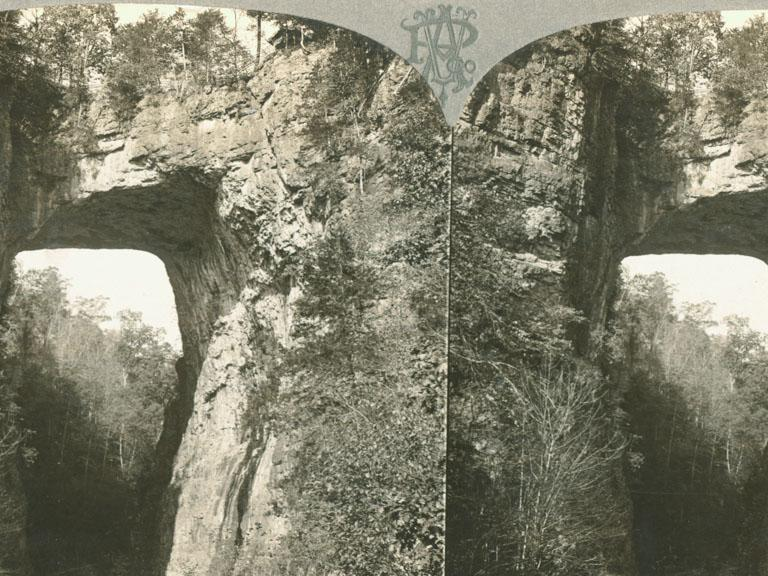 "Black and White Stereo Card of the Natural Bridge. Print on obverse reads: ""5650 One of Nature's wonders in America. Natural Bridge, Virginia."""