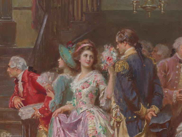Oil painting of a woman dressed in a floral gown speaking to a man in military clothing at Washington's Silver Anniversary event.
