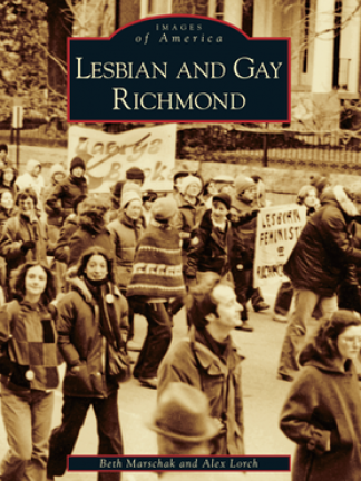 Yellow/brownish image of folx walking in a street with signs supporting LGBTQIA+ rights