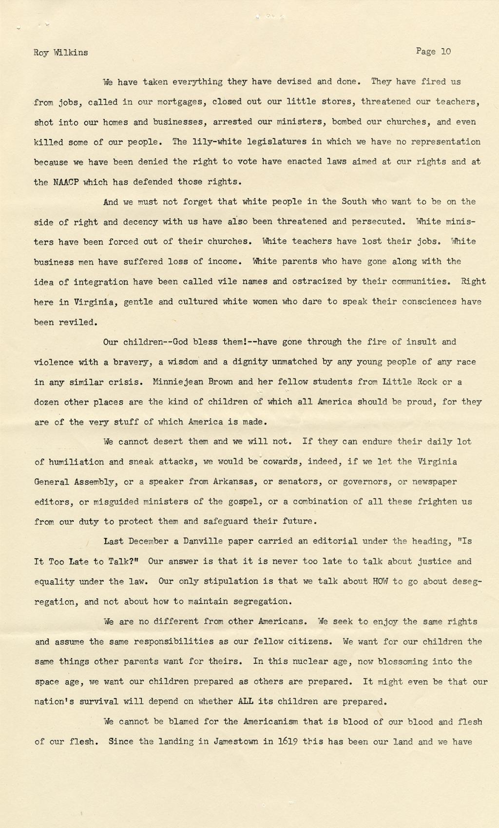 Speech, Roy Wilkins, 27 February 1958 | Virginia Museum of History