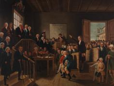 """Patrick Henry Arguing the Parson's Cause at the Hanover County Courthouse"