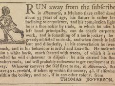 Newspaper advertisement placed by Thomas Jefferson announcing a reward for the apprehension of the runaway slave Sandy