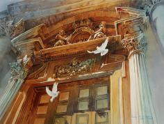 A watercolor painting in tones of gold, orange, and grayish blue of a large ethereal gate with two doves flying upward