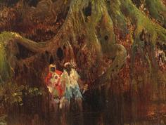 "Painting, ""Slave Hunt"" by Thomas Moran"