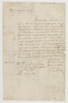Affidavit, 1693, Warwick County, Va. (now Newport News), submitted to Governor Sir Edmund Andros by Dudley Digges, Richard Whitaker, Cater Hubberd, William Cary, and William Rosser concerning the imprisonment of an African-American slave, Frank. Record Call No. Mss3 C3807 a 57