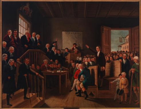 Painting, Patrick Henry Arguing Parsons' Cause at Hanover Courthouse. First half 19th Century. Cooke, George.    Accession 1965.2