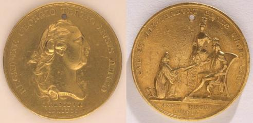 Medal, second half of the eighteenth century; awarded by the College of William and Mary in 1775 to John Camm White of King William County. (1918.1.A-B)