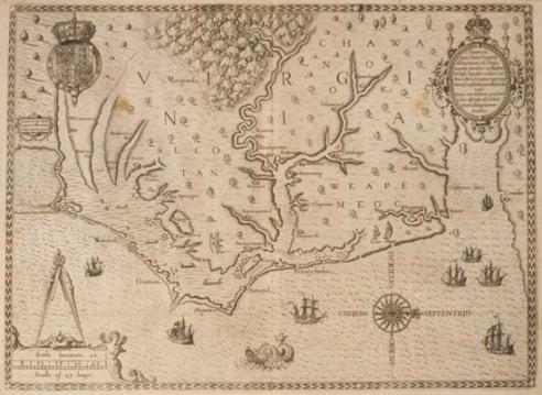 """John White, 1585–1593. Americæ pars, nunc Virginia dicta: primum ab Anglis inuenta, sumtibus Dn. Walteri Raleigh, Equestris ordinis Viri, Anno D ni. MDLXXXV regni Vero Sereniss: nostræ Reginæ Elisabethæ XXVII, hujus vero Historia peculiari Libro descripta est, additis etiam Indigenarum Iconibus / autore Ioanne With ; sculptore Theodoro de Bry, qui et. excud. From Thomas Hariot, """"Admiranda Narratio fida tamen, de Commodis et Incolarum Ritibus Virginiae"""" (Francoforti ad Moenum, 1590). Map F221 1590:1 Manuscri"""