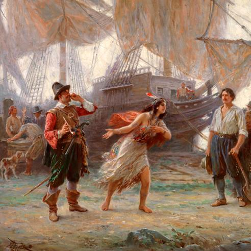 Oil painting rendition of a young Virginia Indian woman, Pocahontas, running from the English captors surrounding her.