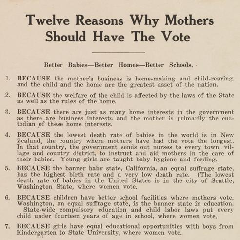Twelve Reasons Why Mothers Should Have the Vote broadside
