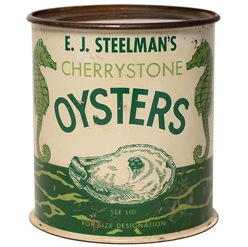 Image of an E. J. Steelman's Cherrystone Oysters can, 20th century (VMHC 2004.362.2)
