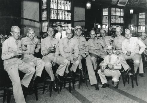Harold Leazer, fifth from left, with his crew in Cuba