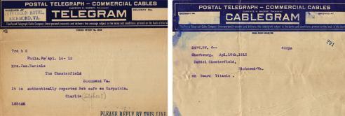 Telegrams concerning Robert W. Daniel on the RMS Titanic