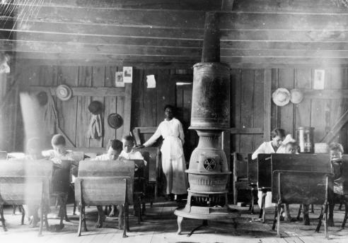 Interior, African American schoolhouse