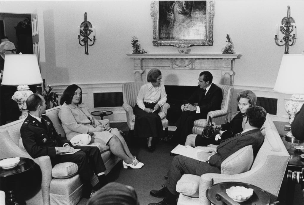 President Nixon meets with the newly formed National League of Families of American Prisoners and Missing in Southeast Asia at the White House in 1972.  Courtesy of the Richard Nixon Presidential Library and Museum