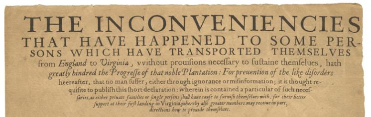 1622 broadside about the journey from London to Virginia