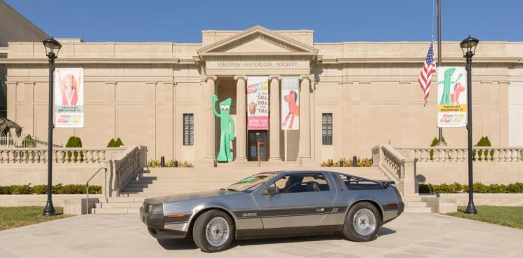 DeLorean car in front of Virginia Historical Society