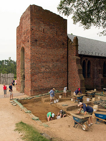 Archaeological work taking place at the church tower at Historic Jamestowne (Image courtesy of Jamestown Rediscover/Preservation Virginia).