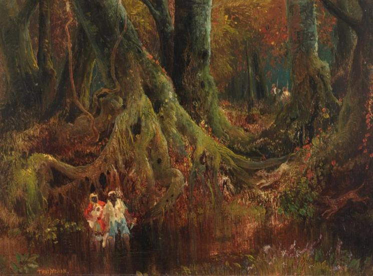 """Painting, """"Slave Hunt"""" by Thomas Moran, 19th century (accession  number: 2000.161)"""