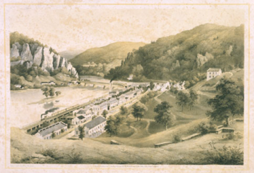 "Lithograph, ""U.S. Armory in Harper's Ferry"" by Edward Beyer, Rau & Son (1857). (VMHC Object #1993.157)"