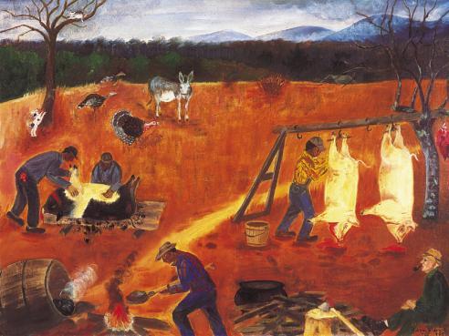"Hog Killing, 1959 Emma Serena ""Queena"" Stovall Courtesy of Daura Gallery, Lynchburg College"