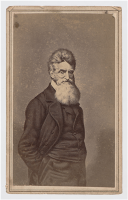 "Carte-de-Visite of a 3/4 portrait drawing of John Brown. An inscription on the back reads,""John Brown, Harpers Ferry."" (Object #FIC2013.00819ffff (CMLS) From the Collections of the Confederate Memorial Literary Society managed by the Virginia Historical Society by agreement of January 1, 2014.)"