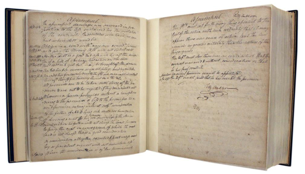 Marshall's Law Commonplace Notebook, begun in 1780