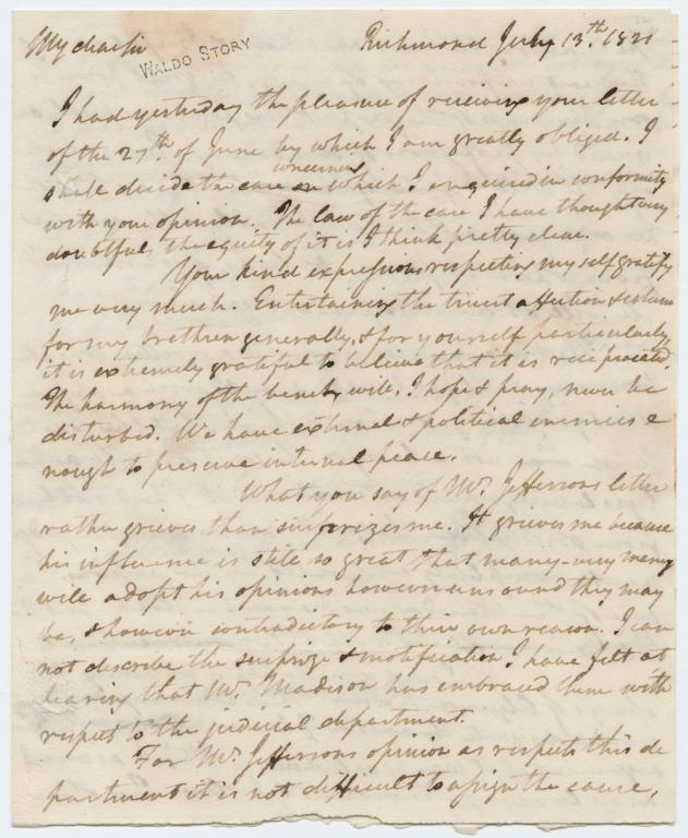 James Madison's letter to Joseph Story, 1821