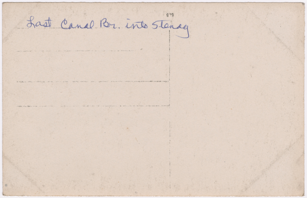 "Shown here is the back of the bridge postcard. The caption reads ""Last canal br[idge] into Stenay."""