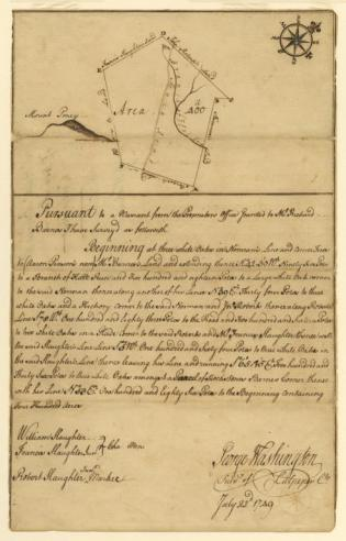 A land survey made by George Washington at age seventeen, 22 July 1749.   Mss1 St824 a 1 Manuscripts
