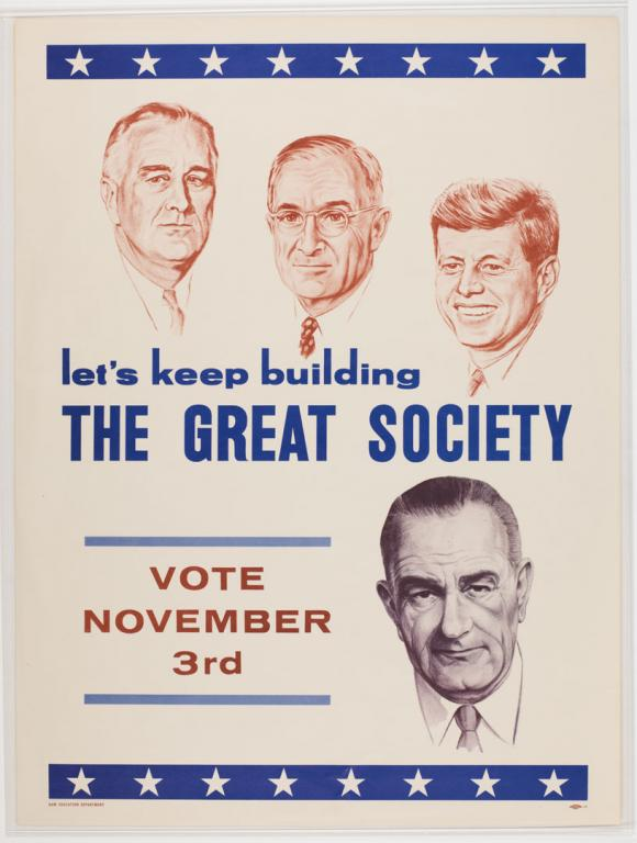 A Democratic Party poster supporting Lyndon B. Johnson (IL.2012.2.40.4).