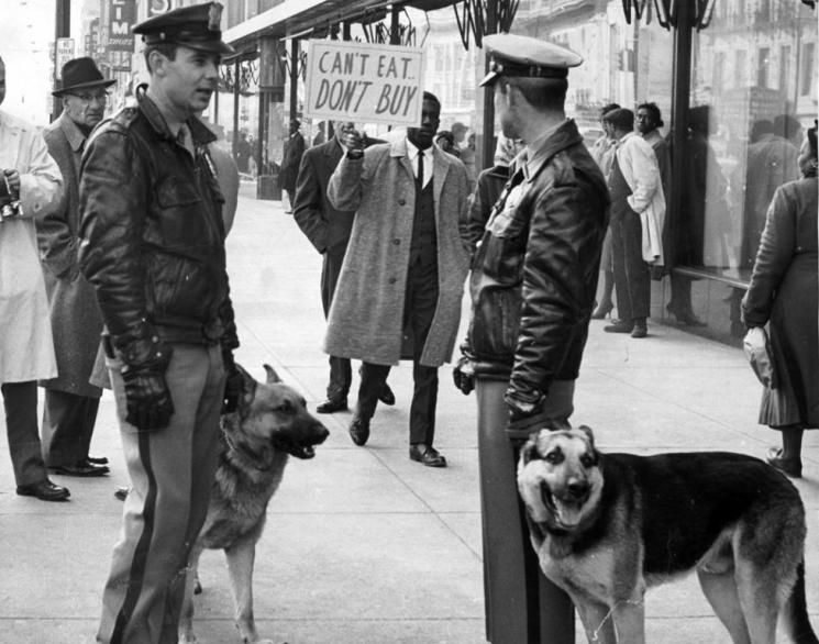 Police with dogs at a Richmond demonstration