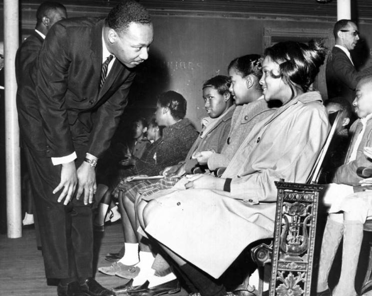 MLK, Jr. with studetns